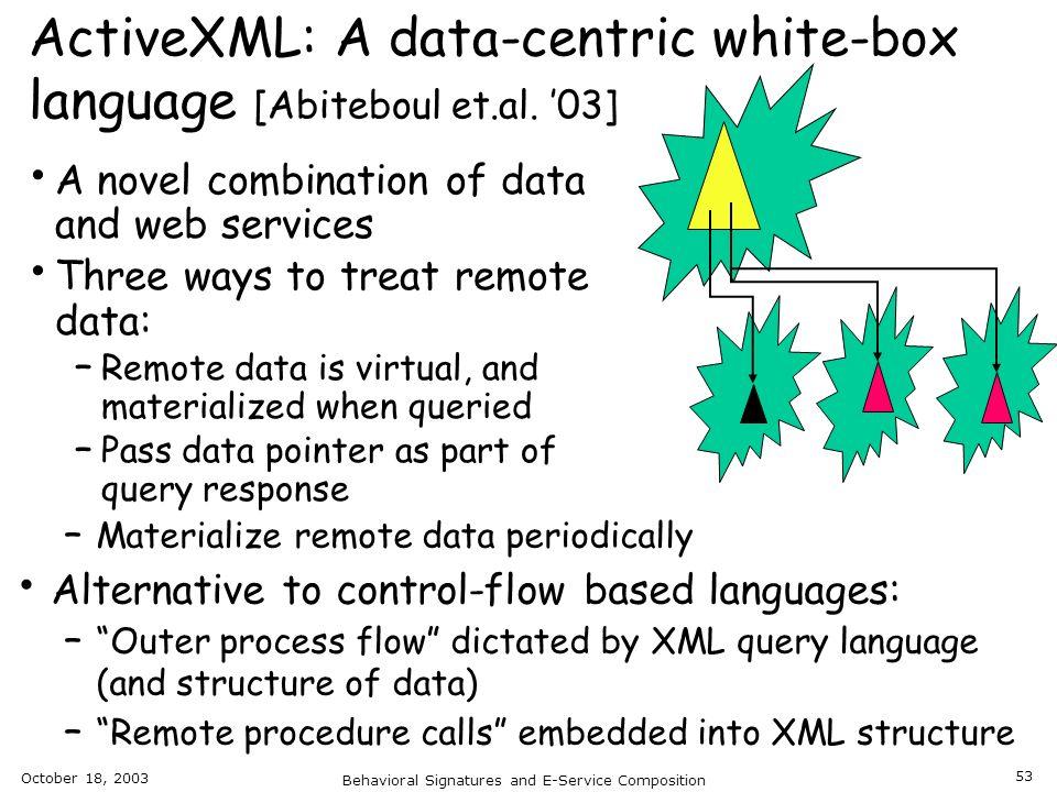 ActiveXML: A data-centric white-box language [Abiteboul et.al. '03]